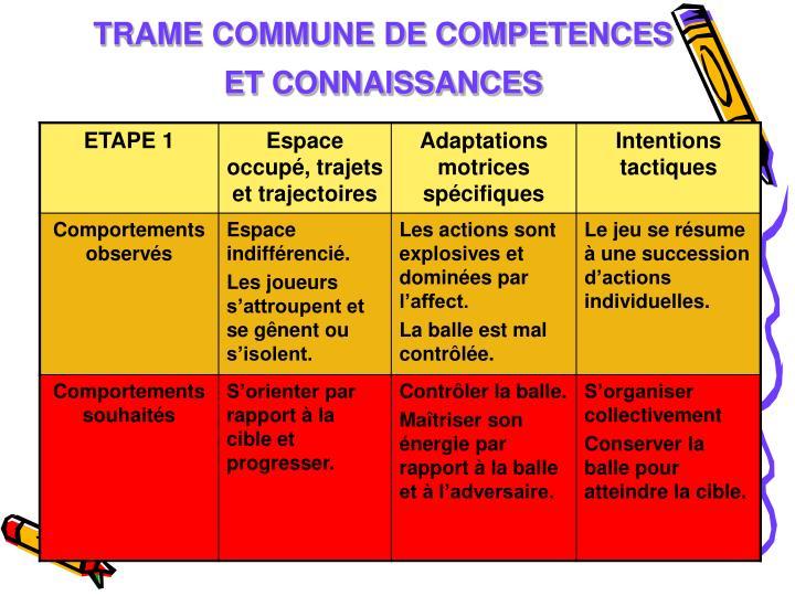 TRAME COMMUNE DE COMPETENCES ET CONNAISSANCES
