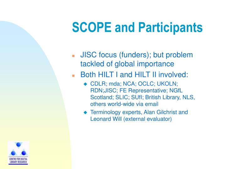 Scope and participants
