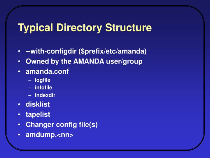 Typical Directory Structure