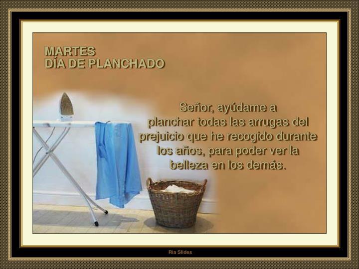 MARTES                                                                               DÍA DE PLANCHADO