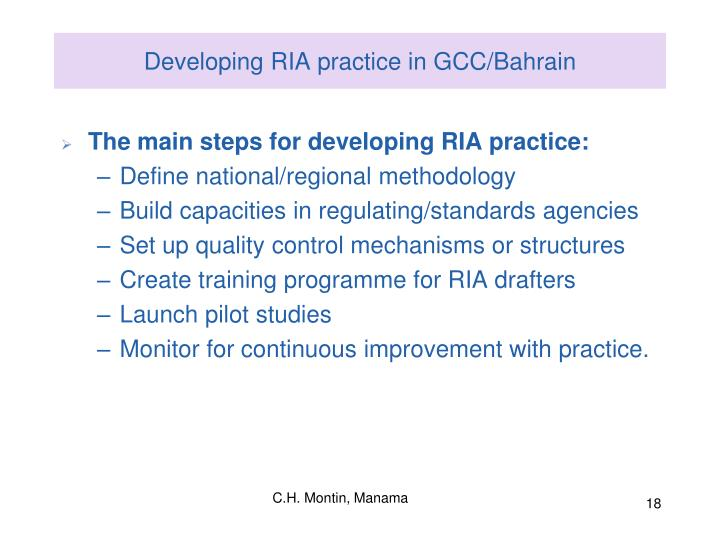 Developing RIA practice in GCC/Bahrain