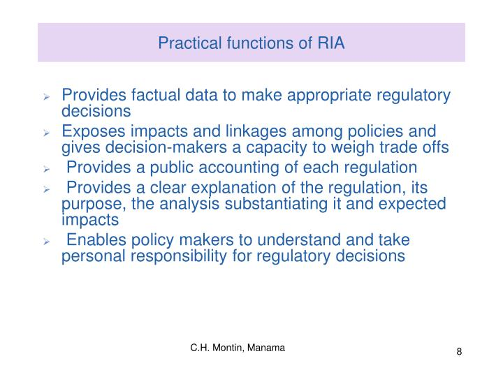 Practical functions of RIA