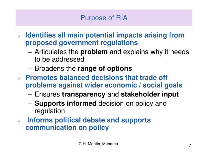 Purpose of RIA
