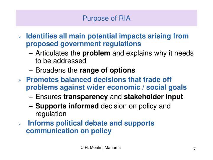 Purpose of RIA
