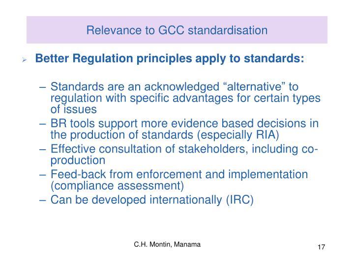 Relevance to GCC standardisation