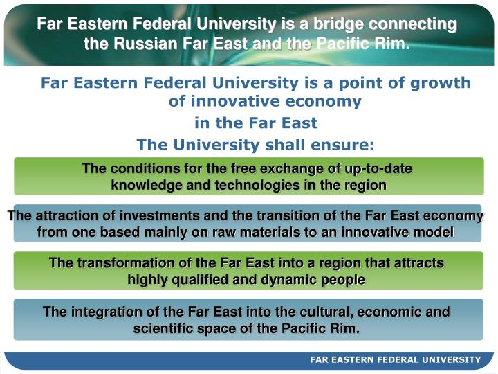 Far eastern federal university is a bridge connecting the russian far east and the pacific rim