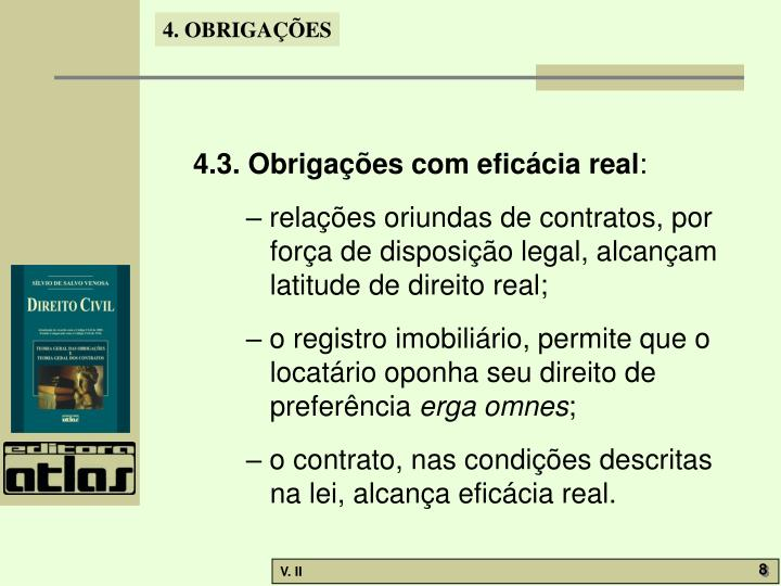 4.3. Obrigações com eficácia real