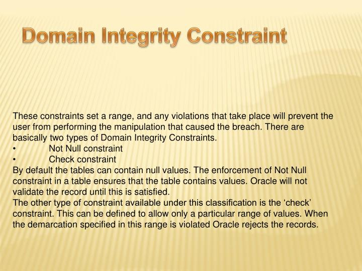 Domain Integrity Constraint