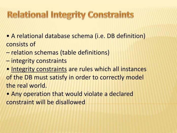 Relational Integrity Constraints