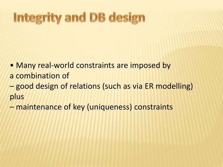 Integrity and DB design