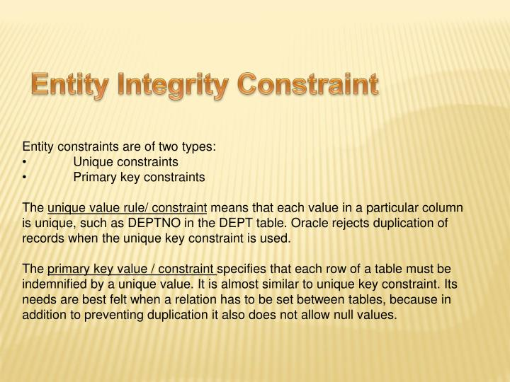 Entity Integrity Constraint