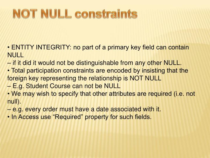 NOT NULL constraints