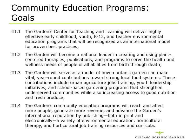 Community Education Programs: