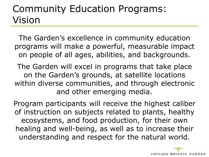 Community Education Programs: Vision