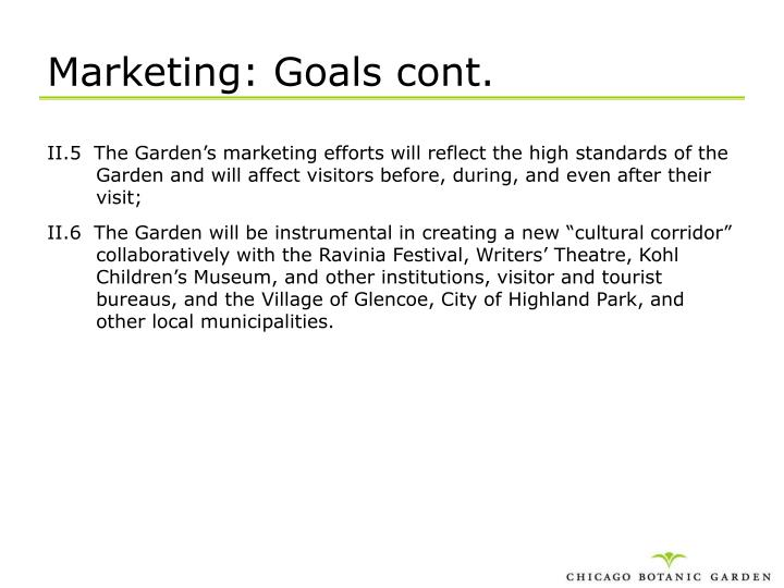 Marketing: Goals cont.