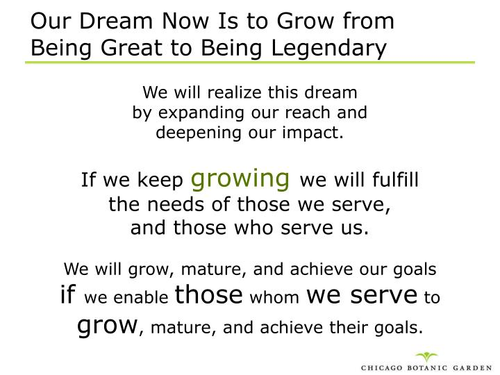 Our Dream Now Is to Grow from
