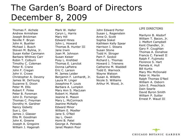 The garden s board of directors december 8 2009