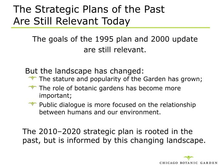 The Strategic Plans of the Past