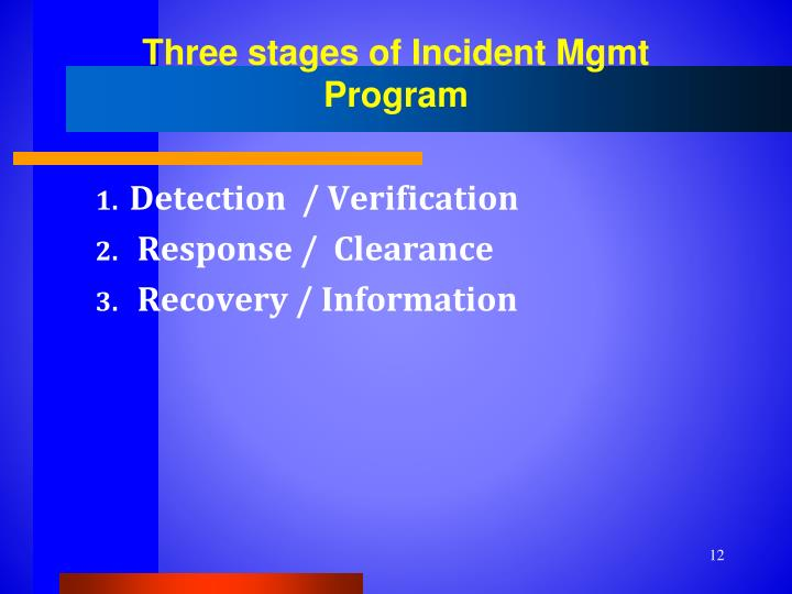 Three stages of Incident Mgmt Program