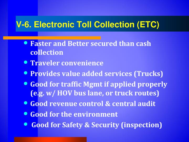 V-6. Electronic Toll Collection (ETC)