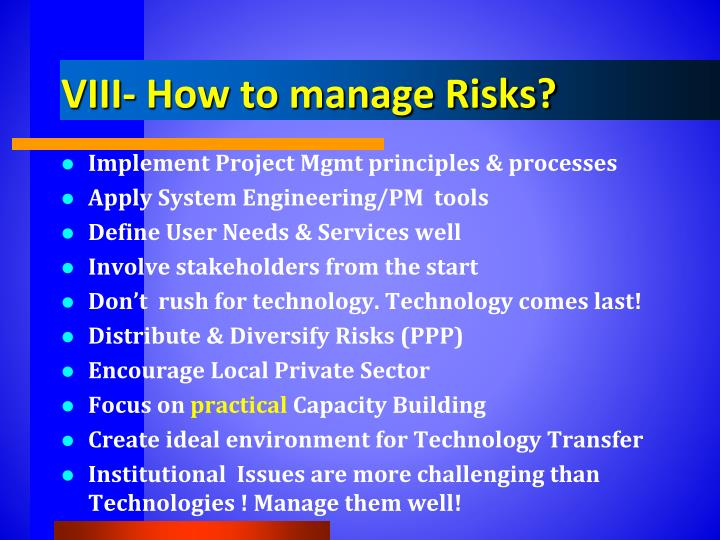 VIII- How to manage Risks?
