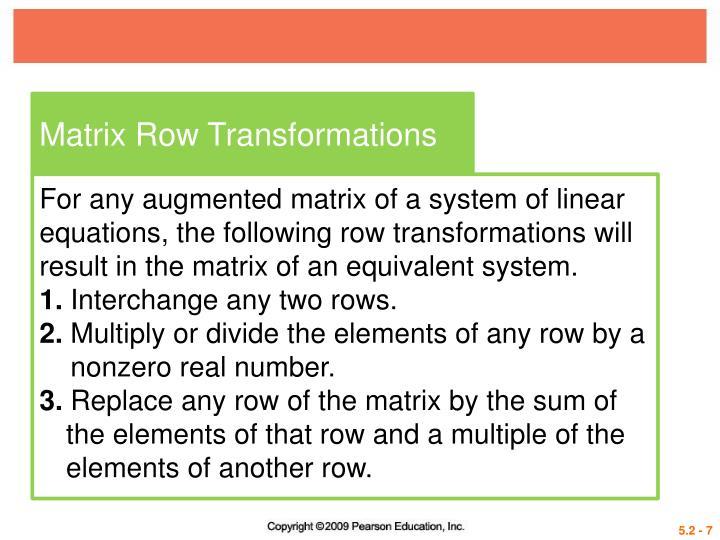 Matrix Row Transformations
