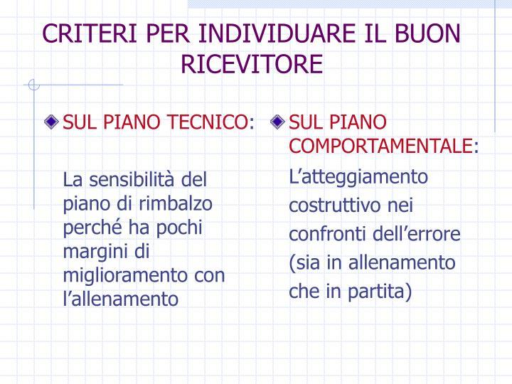 SUL PIANO TECNICO
