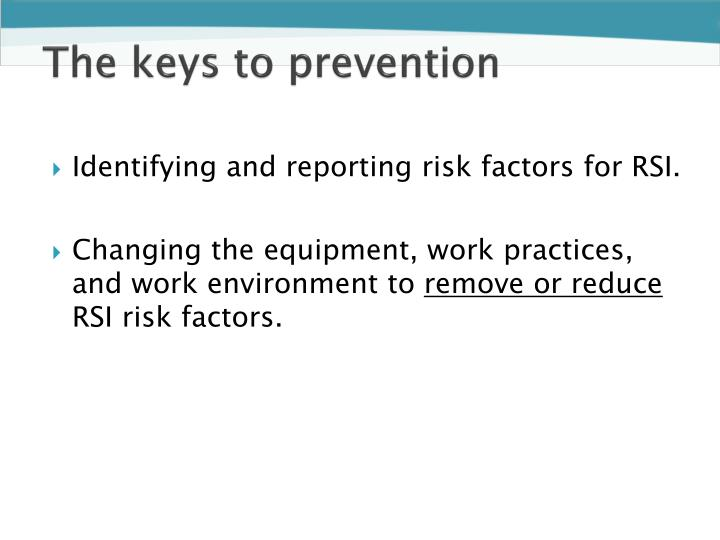 The keys to prevention