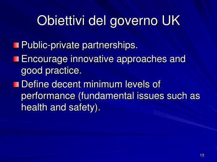 Obiettivi del governo UK