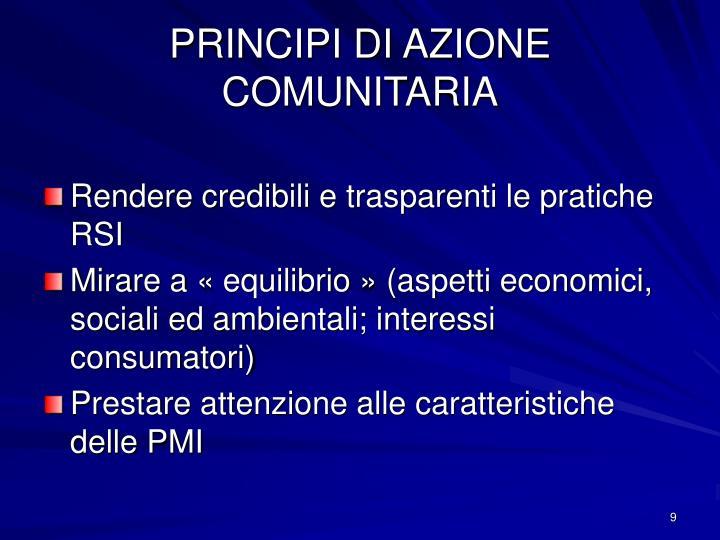 PRINCIPI DI AZIONE COMUNITARIA