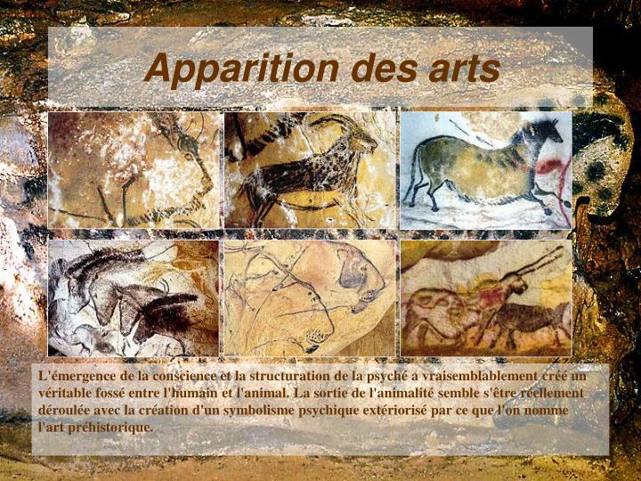 Apparition des arts