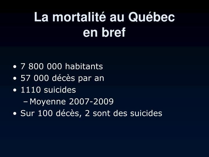 La mortalité au Québec