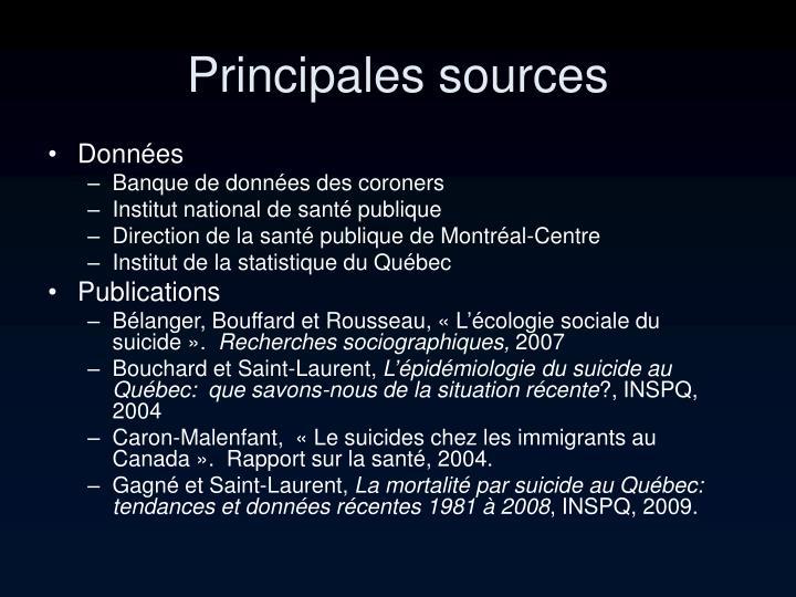 Principales sources