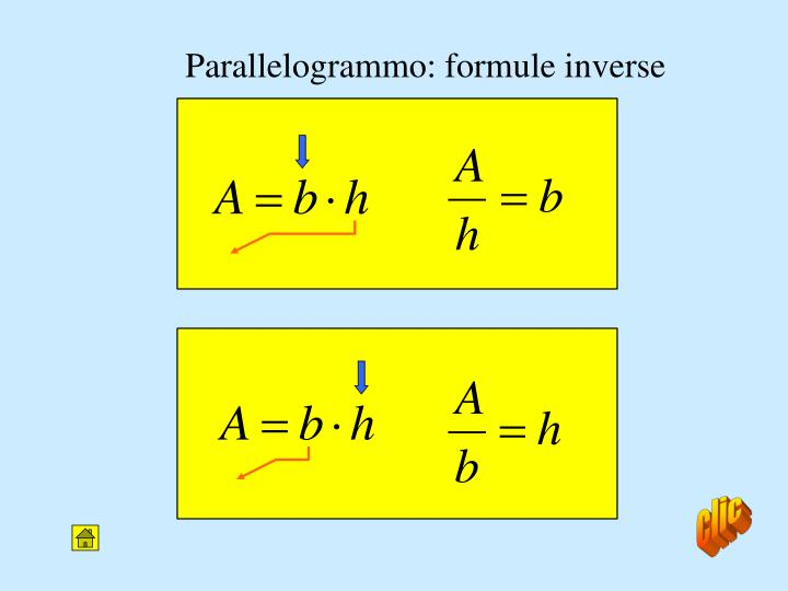 Parallelogrammo: formule inverse