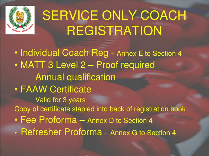 SERVICE ONLY COACH REGISTRATION