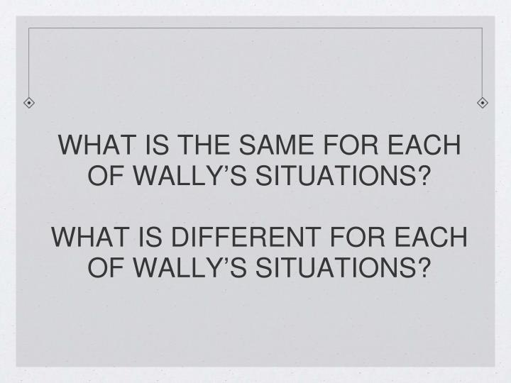 WHAT IS THE SAME FOR EACH OF WALLY