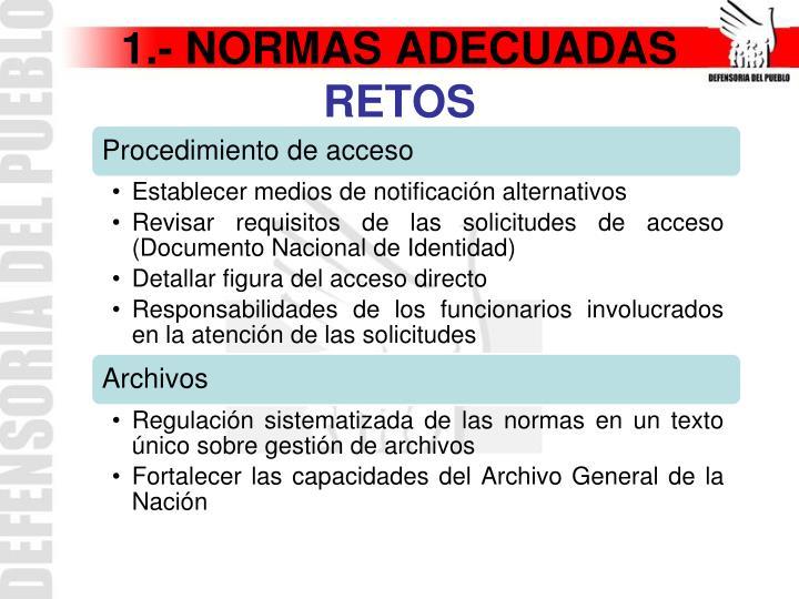 1.- NORMAS ADECUADAS