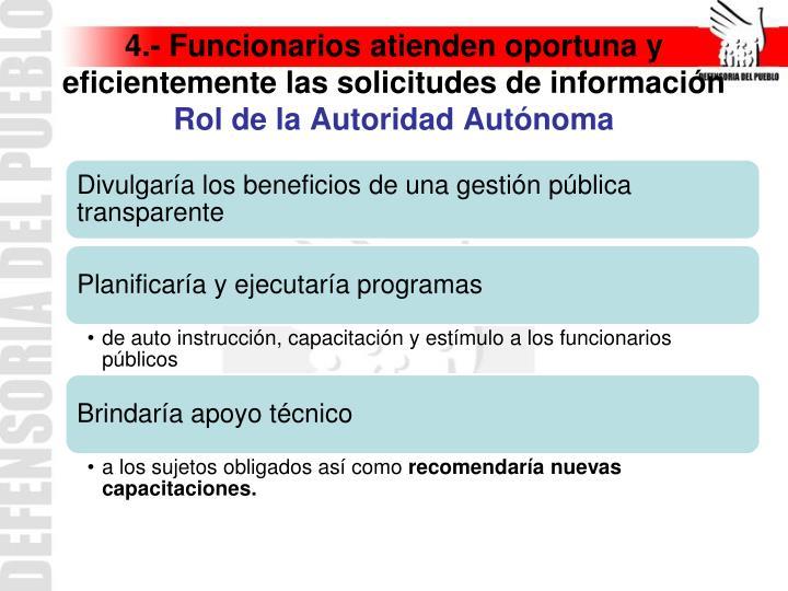4.- Funcionarios atienden oportuna y eficientemente las solicitudes de información