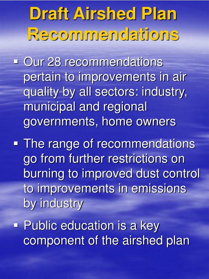 Draft Airshed Plan Recommendations