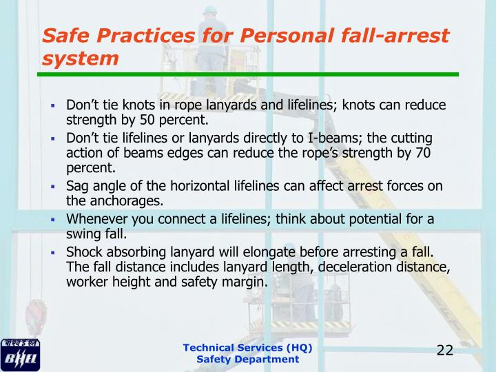 Safe Practices for Personal fall-arrest system