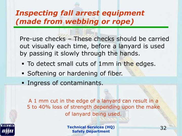 Inspecting fall arrest equipment