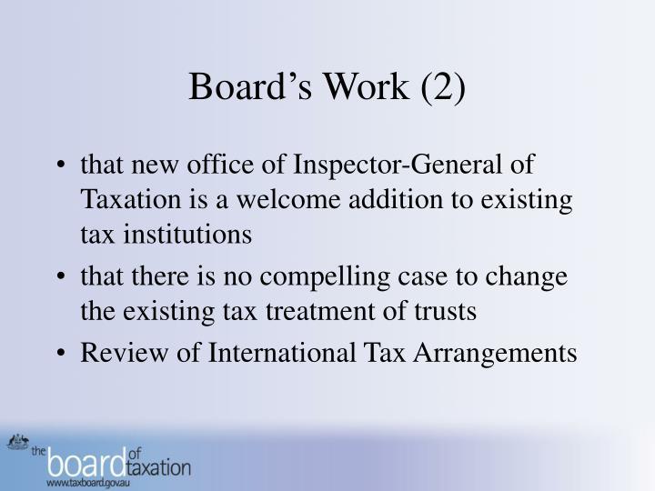 Board's Work (2)