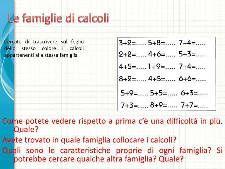 Le famiglie di calcoli