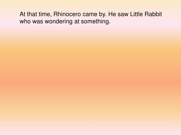 At that time, Rhinocero came by. He saw Little Rabbit who was wondering at something.