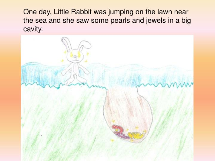 One day, Little Rabbit was jumping on the lawn near the sea and she saw some pearls and jewels in a big cavity.