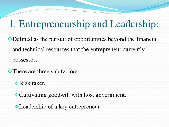 1. Entrepreneurship and Leadership: