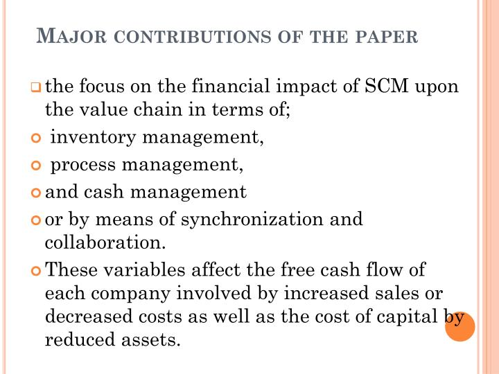 optimizing supply chain - research paper Management optimization volume 3 integrated supply chain design models 3 section 11 concludes the paper with future research.