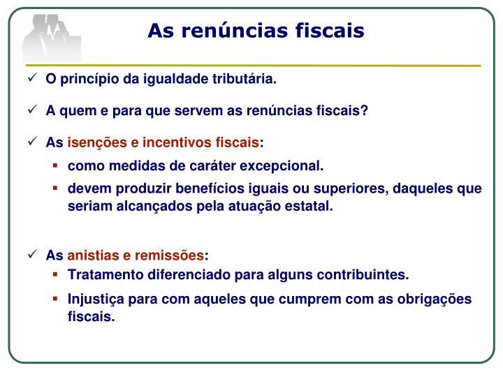 As renúncias fiscais