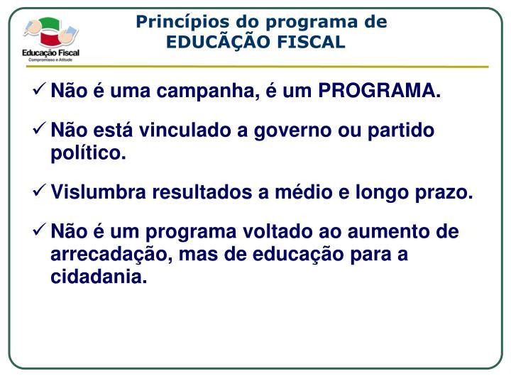 Princípios do programa de
