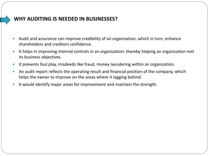 Why auditing is needed in businesses